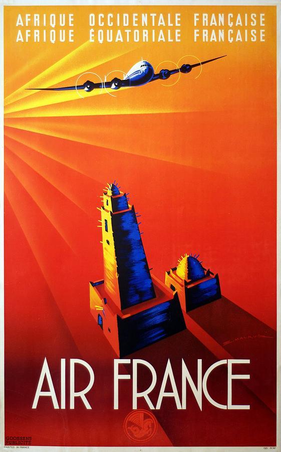 Air France - Afrique Occidentale - Afrique Equatoriale 1947 - Retro Travel Poster - Vintage Poster Mixed Media