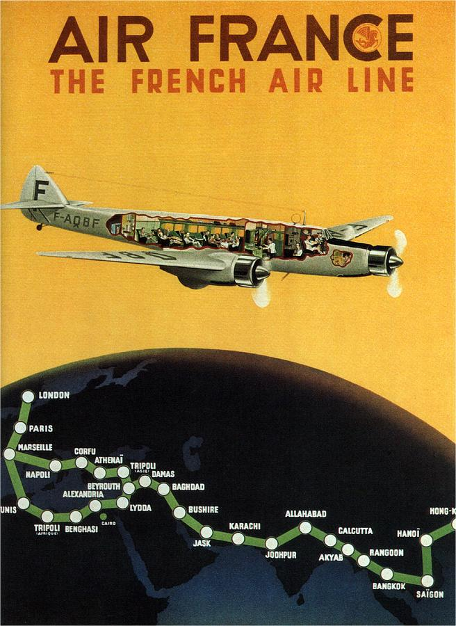 Air France - The French Air Line - Retro Travel Poster - Vintage Poster Mixed Media