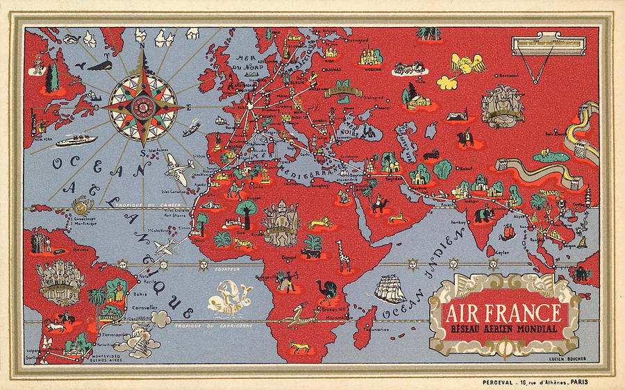 Air France - Vintage Illustrated Map Of The World By Lucien Boucher - Cartography Mixed Media