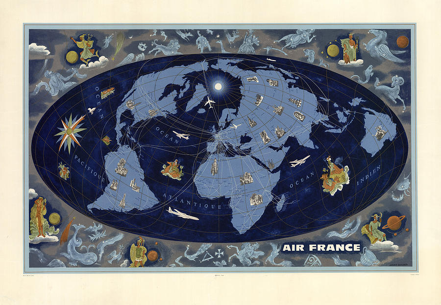 Air France - Vintage Illustrated World Map - Lucien Boucher - Air Routes Mixed Media