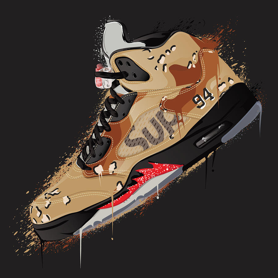 Air Jordan 5 Retro Supreme Desert Camo