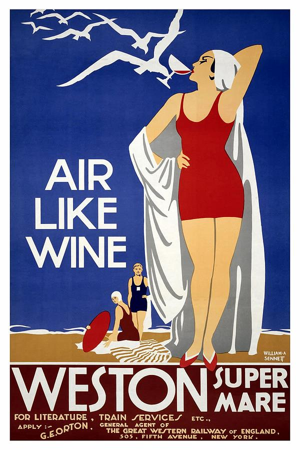 Air Like Wine - Weston Super Mare, England - Retro Travel Poster - Vintage Poster Mixed Media