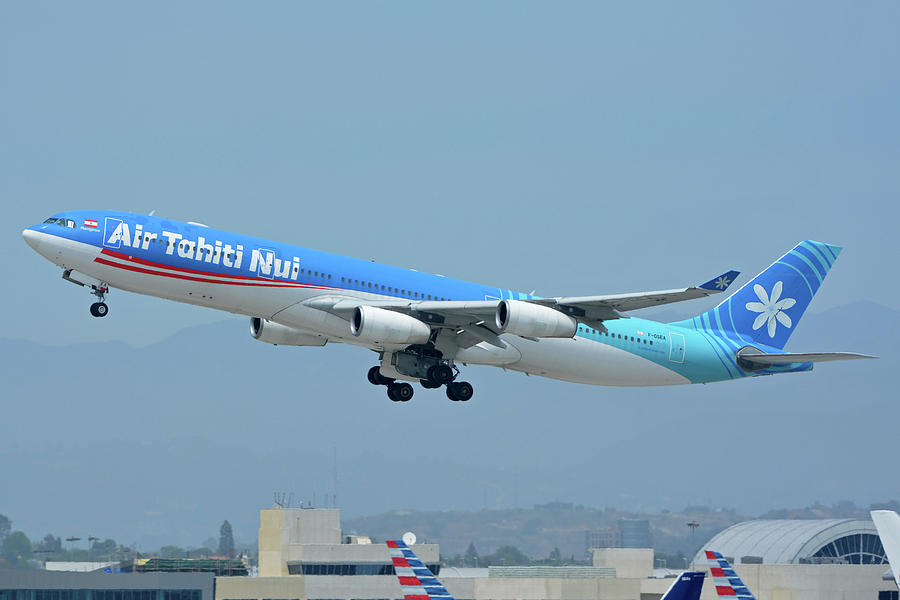 Airplane Photograph - Air Tahiti Nui Airbus A340-313x F-osea Los Angeles International Airport May 3 2016 by Brian Lockett