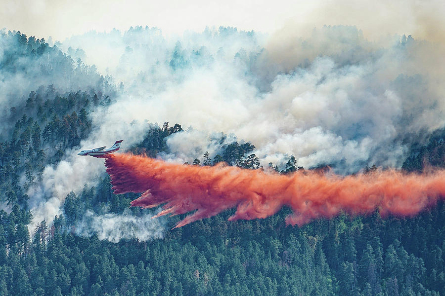 Fire Photograph - Air Tanker on Crow Peak Fire by Bill Gabbert