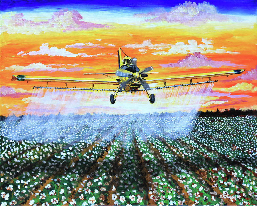 Air Tractor at Sunset Over Cotton by Karl Wagner