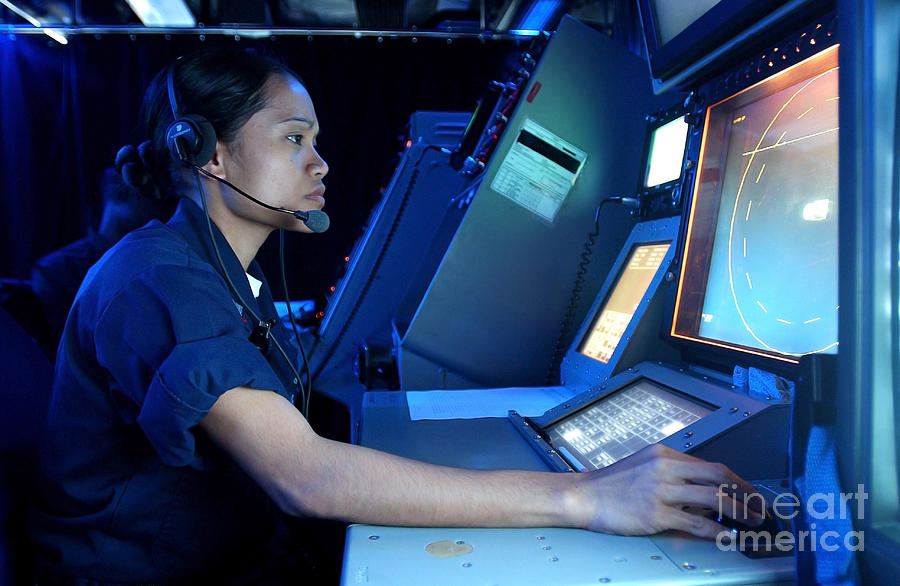 Horizontal Photograph - Air Traffic Controller Monitors Marine by Stocktrek Images