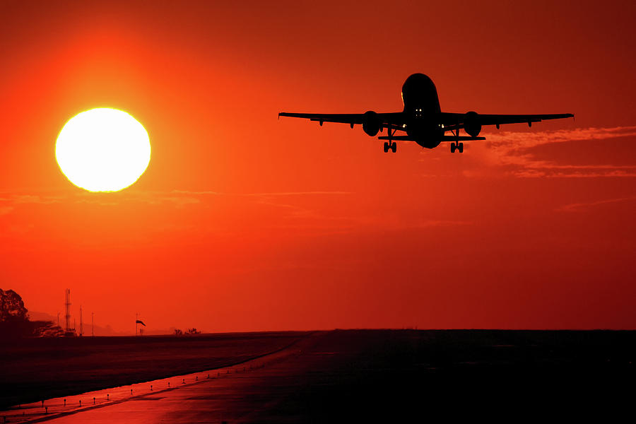 Airbus A320 Departure At Sunset Photograph By Andres Meneses