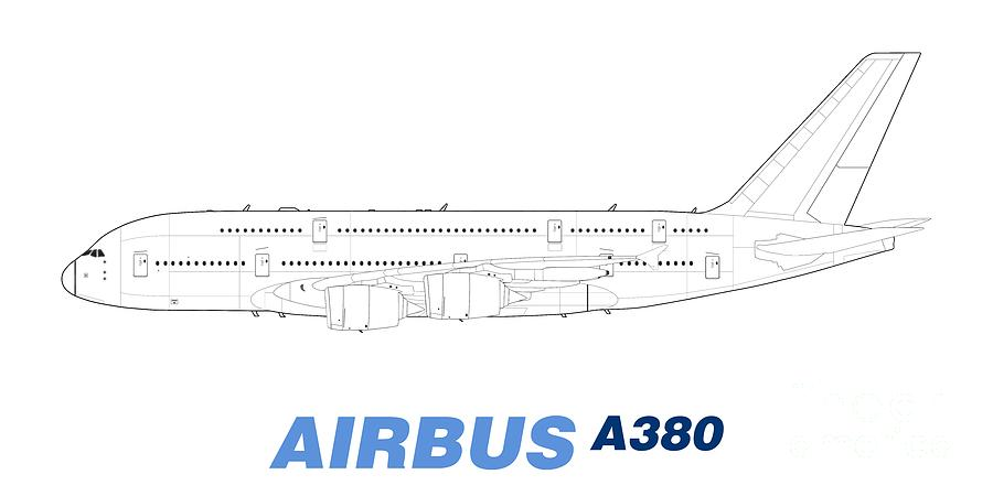 Airbus a380 line drawing drawing by steve h clark photography for A380 coloring pages