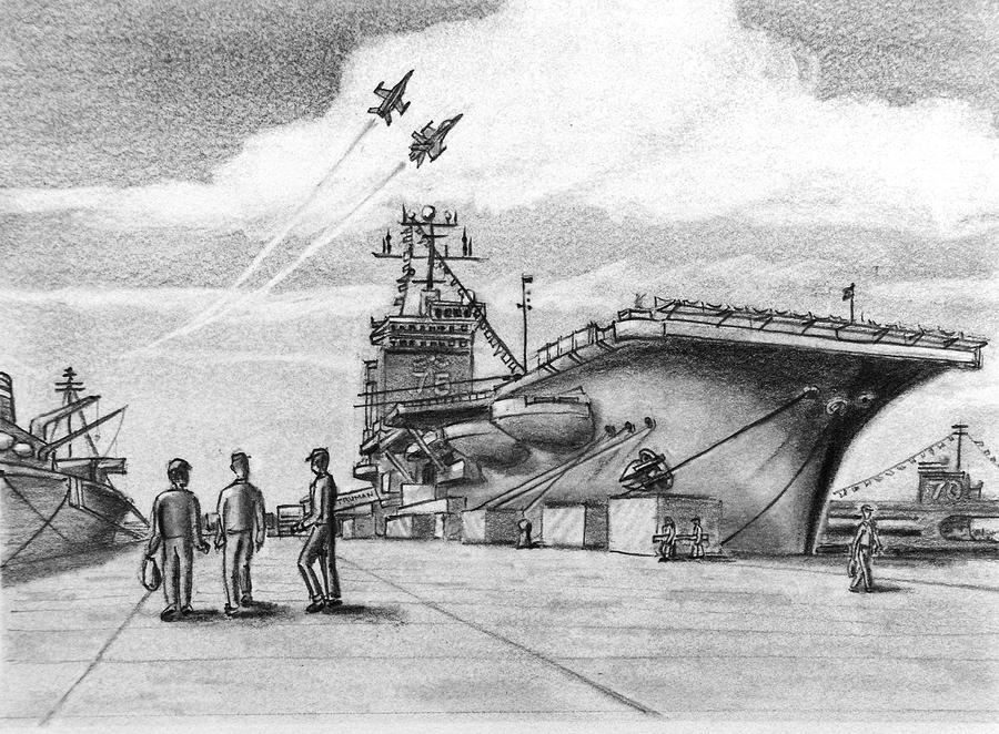 Navy Drawing - Aircraft Carrier by Vic Delnore