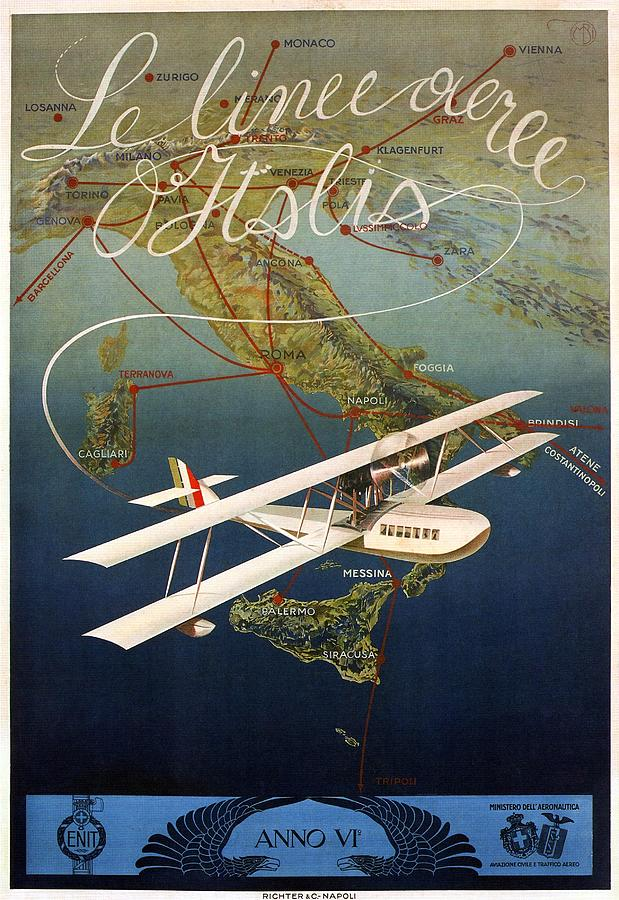 Aircraft Flying Over Italy - Biplane - Retro Travel Poster - Vintage Poster Mixed Media