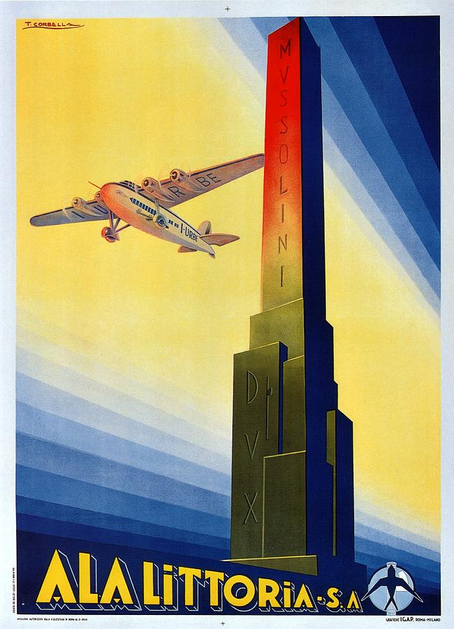 Aircraft Flying Over The Mussolini Dux Obelisk - Ala Littoria - Vintage Travel Poster Painting