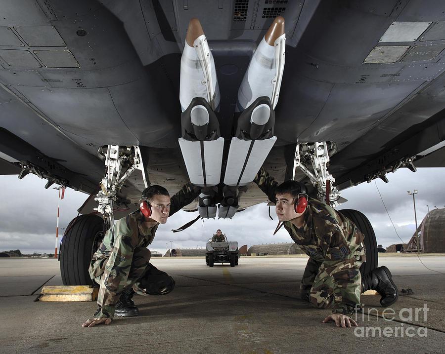 Aircraft Photograph - Airmen Check The Gbu-39 Small Diameter by Stocktrek Images