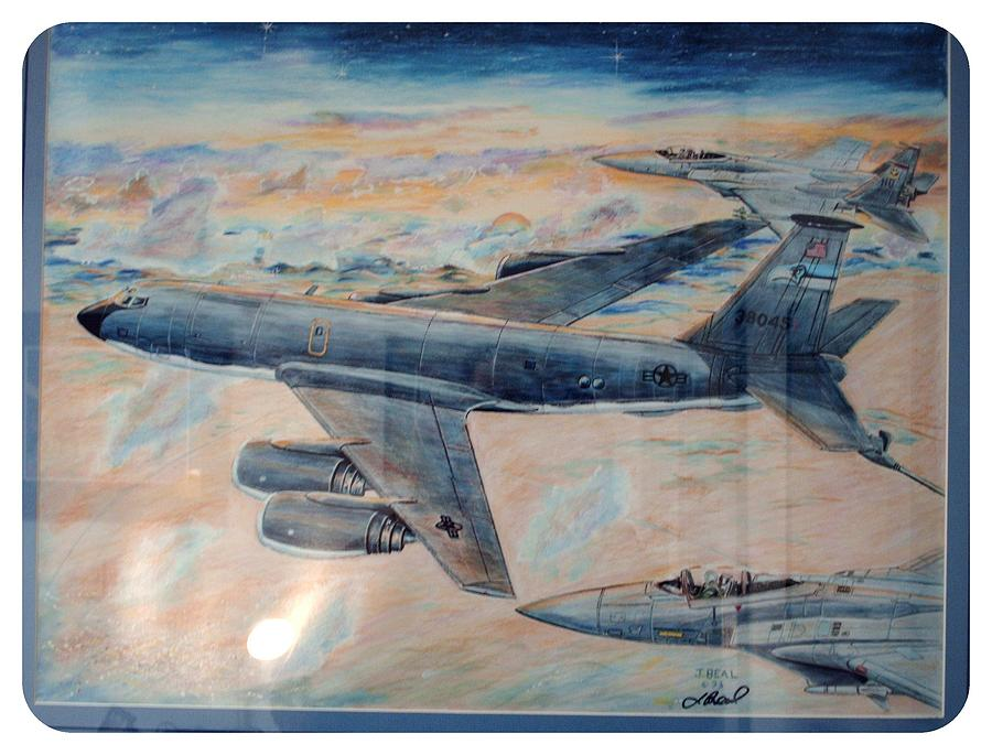 Landscape Drawing - Airn Tanker Kc-135 by James Beal