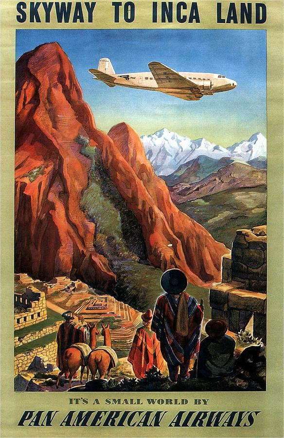 Airplane Flying Ove The Mountains In South America - Incas - Vintage Illustrated Poster Painting