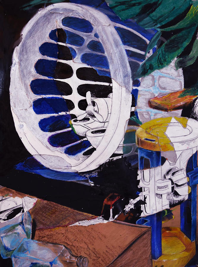 Still Life Mixed Media - Airplane In A Laundry Basket by Ellan Suder