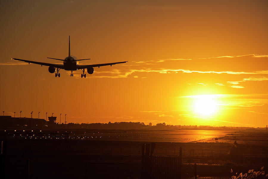 Airport In Sunset Photograph