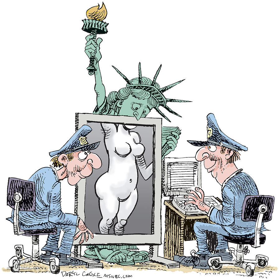 Statue Of Liberty Drawing - Airport Security and Liberty by Daryl Cagle
