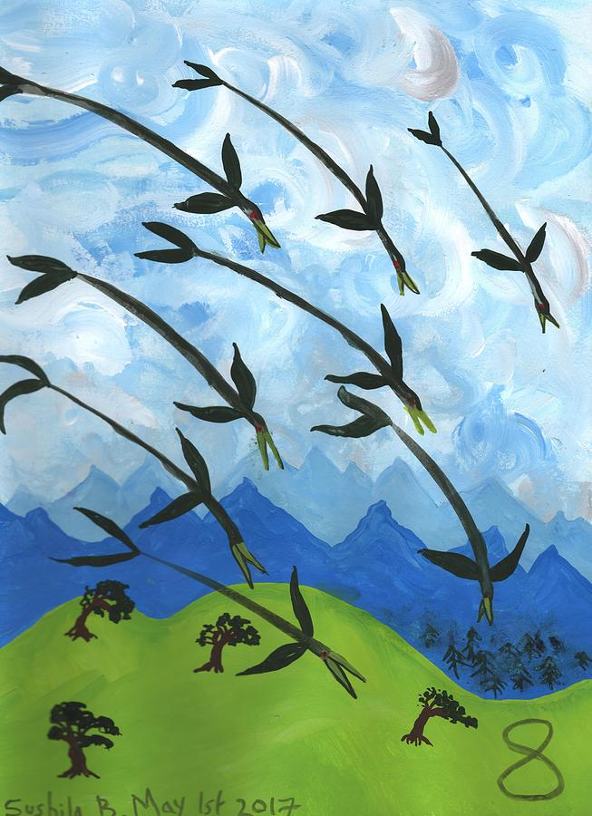 Tarot Painting - Airy Eight Of Wands Illustrated by Sushila Burgess