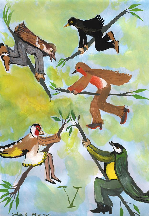 Bird People Painting - Airy Five of Wands with Bird People by Sushila Burgess