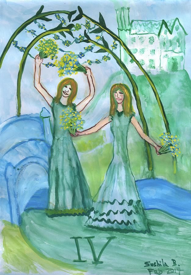 Tarot Painting - Airy Four Of Wands Illustrated by Sushila Burgess