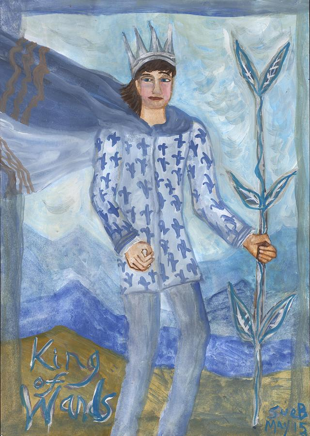 Tarot Painting - Airy King Of Wands by Sushila Burgess
