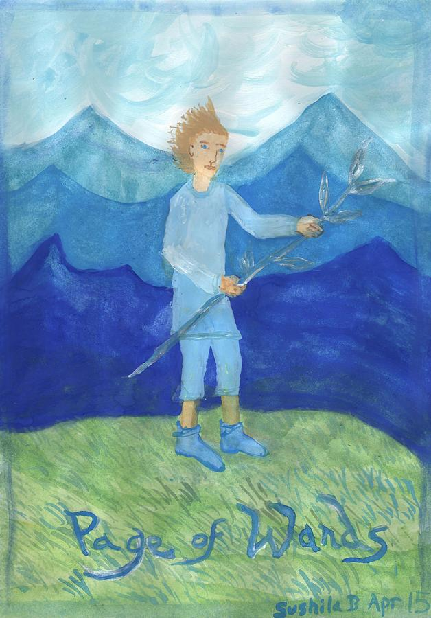 Tarot Painting - Airy Page Of Wands by Sushila Burgess