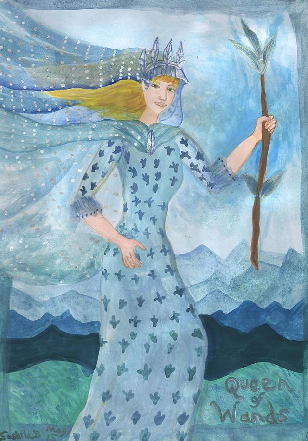 Tarot Painting - Airy Queen Of Wands by Sushila Burgess