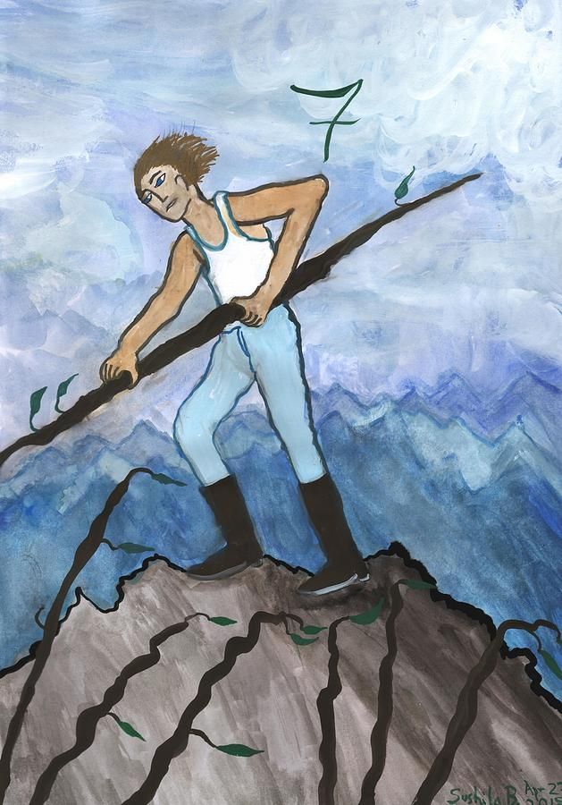 Tarot Painting - Airy Seven Of Wands Illustrated by Sushila Burgess