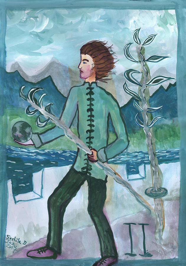 Tarot Painting - Airy Two Of Wands Illustrated by Sushila Burgess