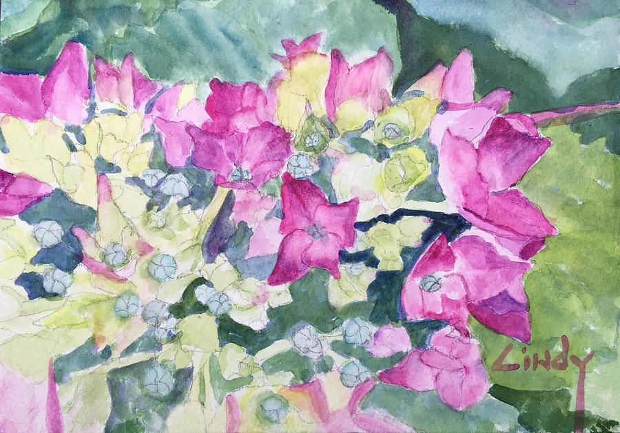 Ajisai Painting - Ajisai Color-magenta by Cindy McLean