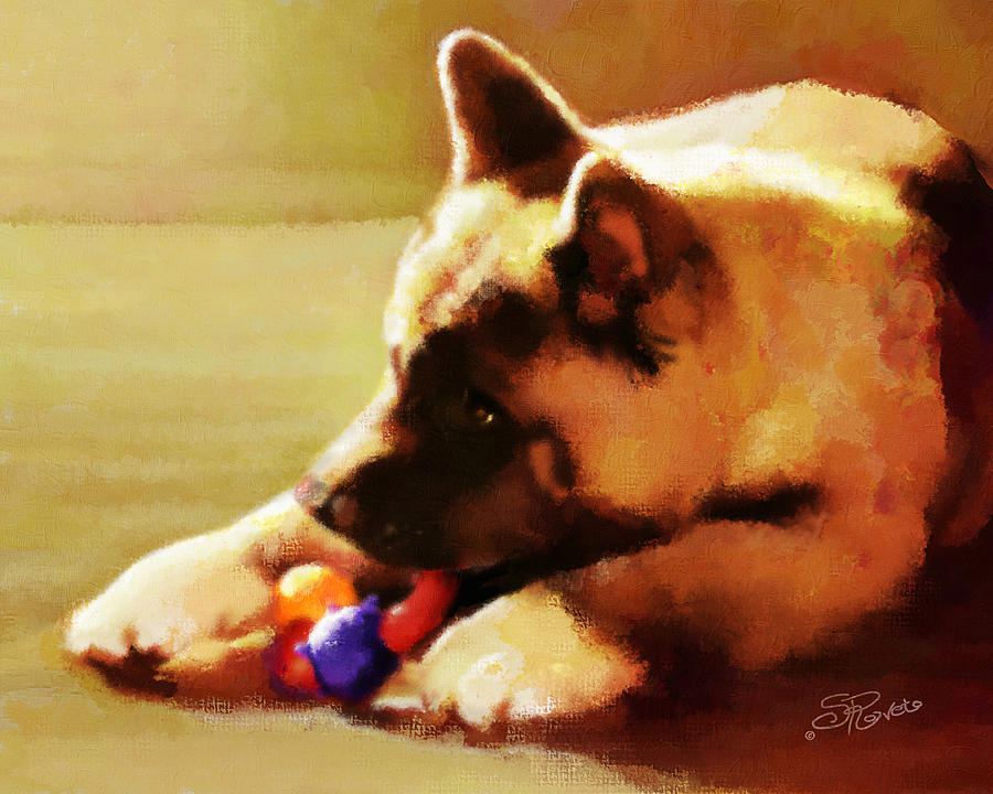 Puppy Painting - Akita Puppy by Suni Roveto