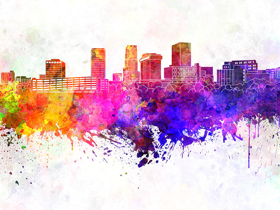 Akron Skyline Painting - Akron Skyline In Watercolor Background by Pablo Romero