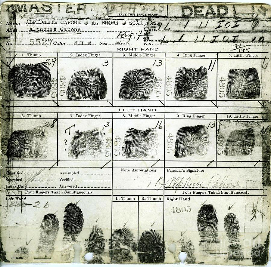 Al Capone Fingerprints Photograph by Jon Neidert