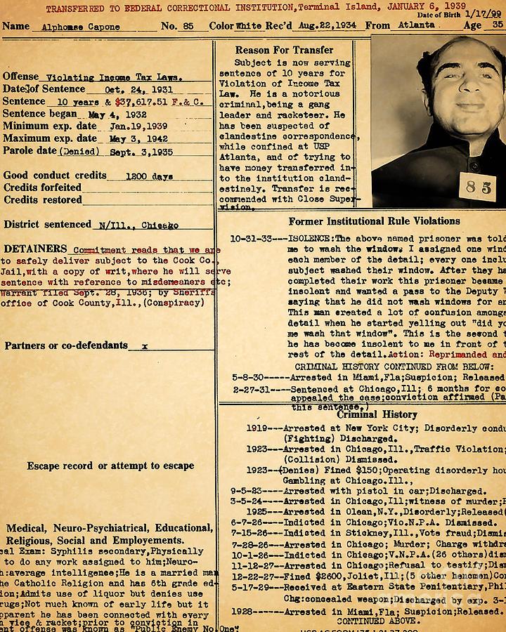 Al Capone Transfer Record Alcatraz Island To Terminal Island ...