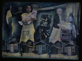 Family Painting - Al Cheyt No White Picket Fence by Barbara Nesin
