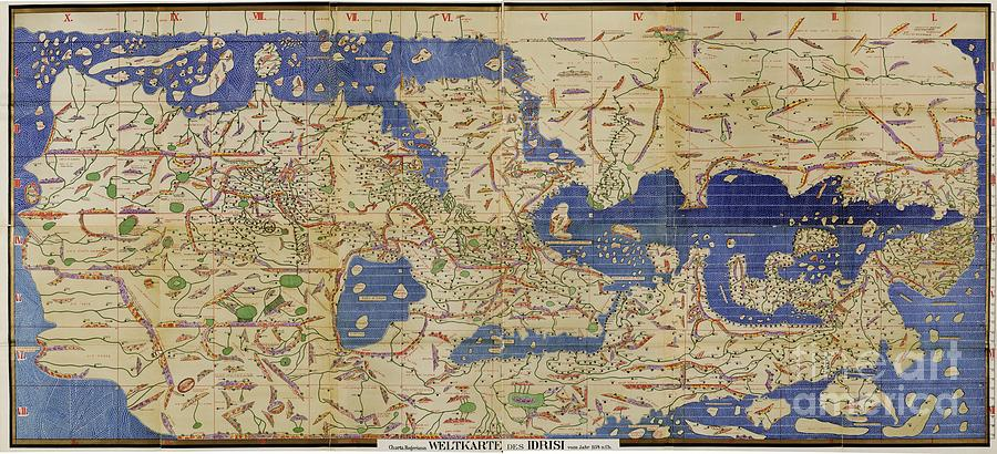 1100s Photograph - Al Idrisi World Map 1154 by SPL and Photo Researchers