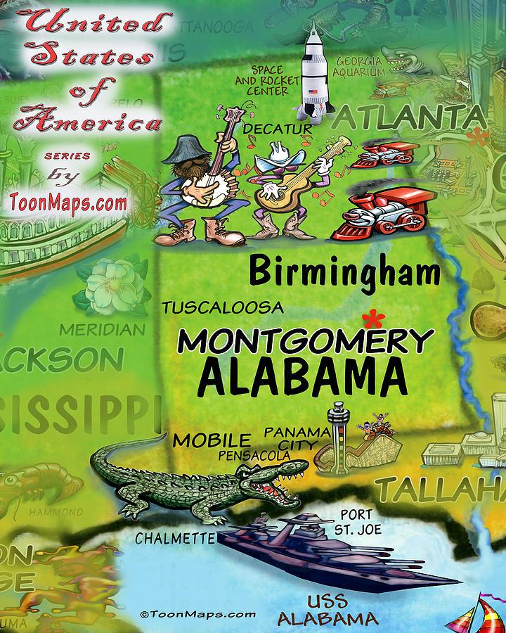 Alabama Fun Map Digital Art