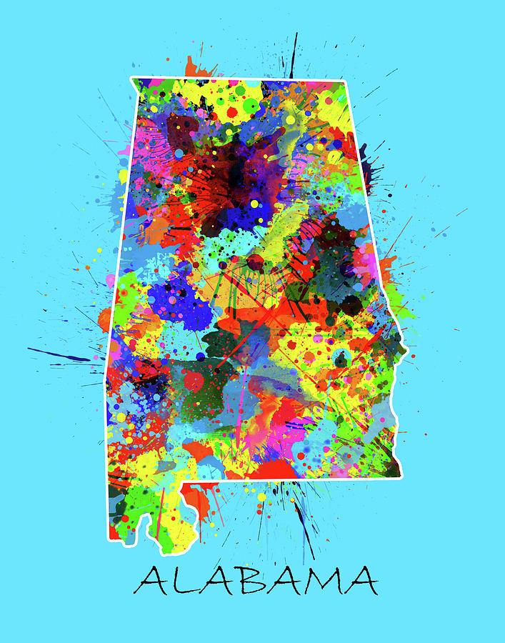 Alabama Map Color Splatter 2 Digital Art