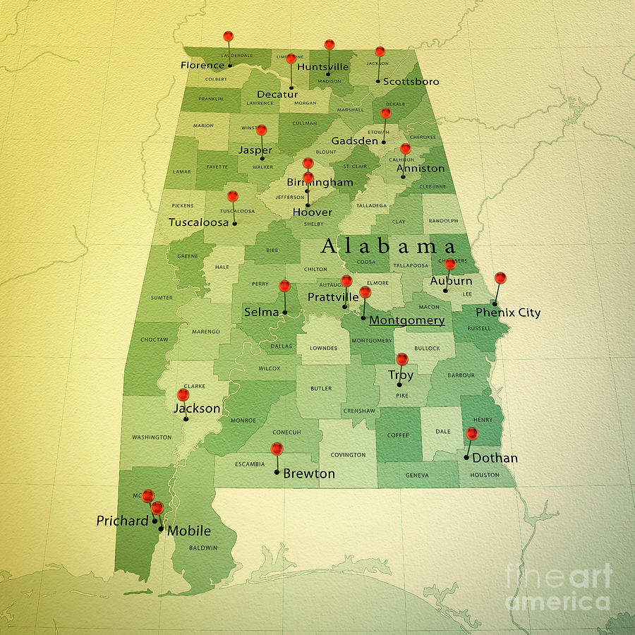 Cartography Digital Art - Alabama State Map Square Cities Straight Pin Vintage by Frank Ramspott