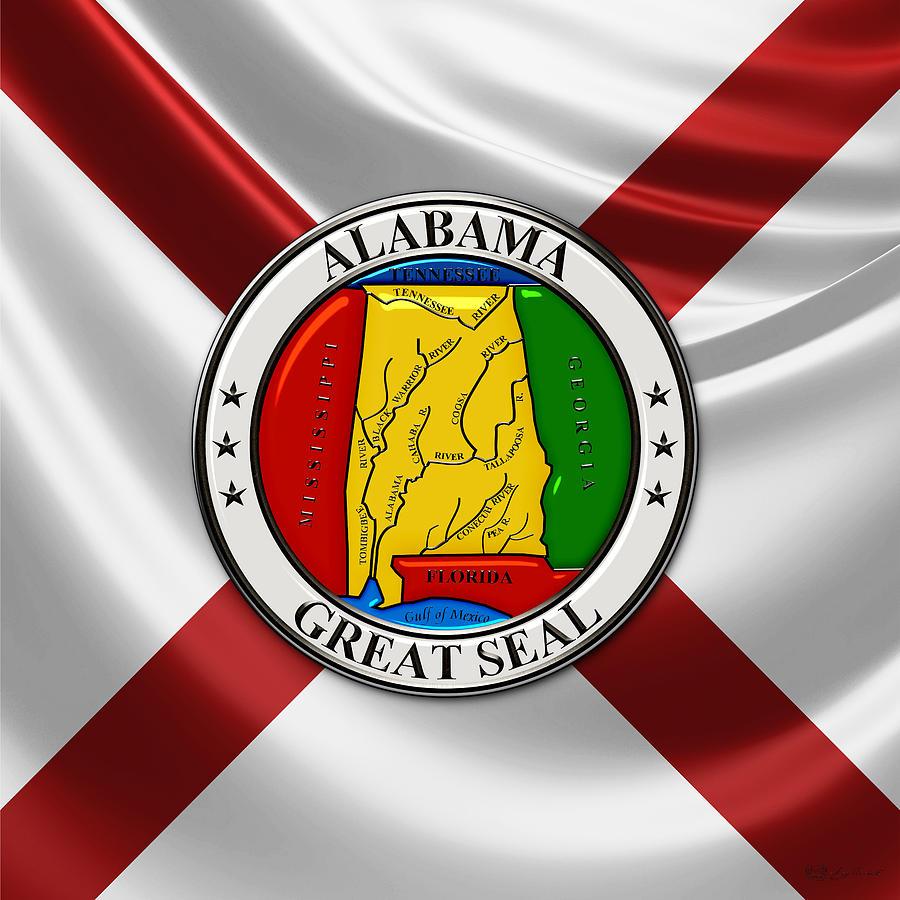Alabama State Seal Over State Flag Digital Art By Serge Averbukh