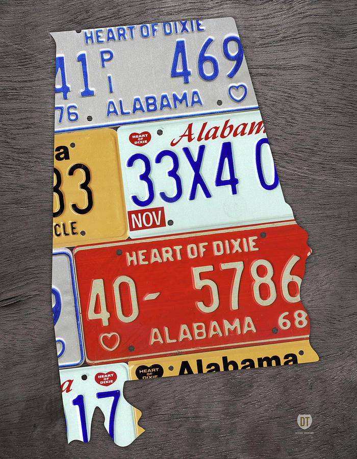 Alabama State Shape Vintage License Plate Map Mixed Media by ...