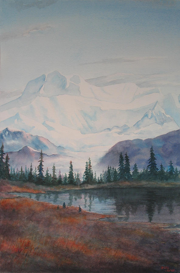 Alaska Painting - Alaksa Mountain And Lake by Debbie Homewood