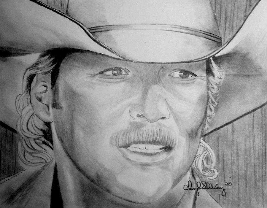 Alan Jackson Drawing - Alan Jackson by Cheryl Shibley