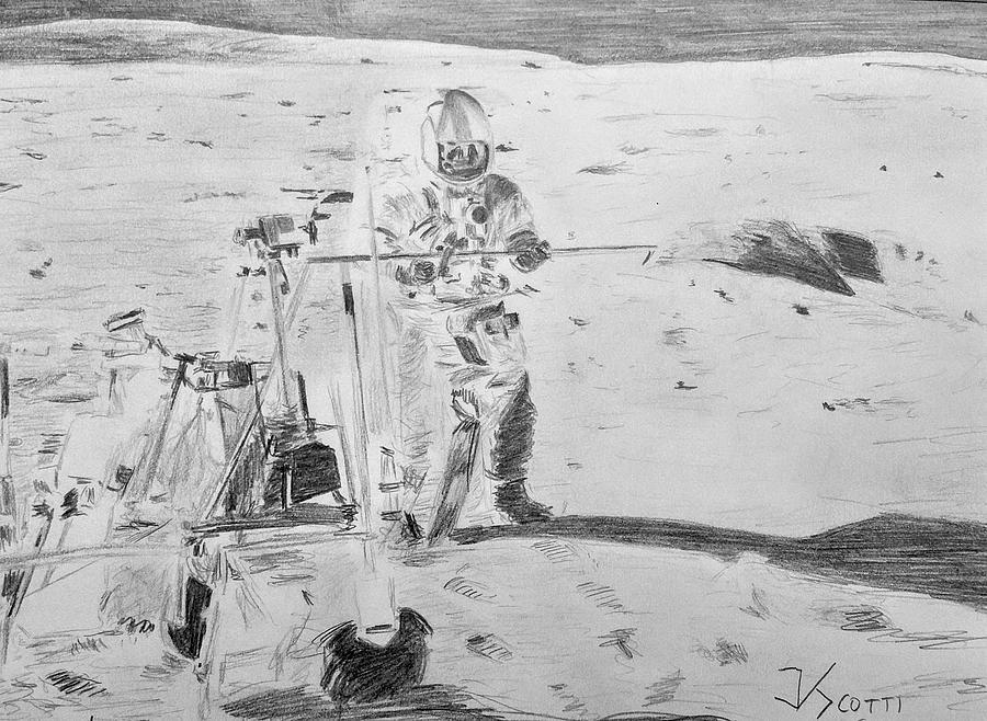 Apollo 14 Drawing - Alan Shepard, Apollo 14 by James Scotti