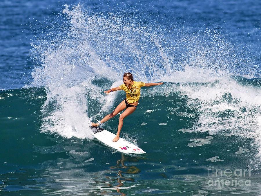 Alana Blanchard Photograph - Alana Blanchard Surfing Hawaii by Paul Topp