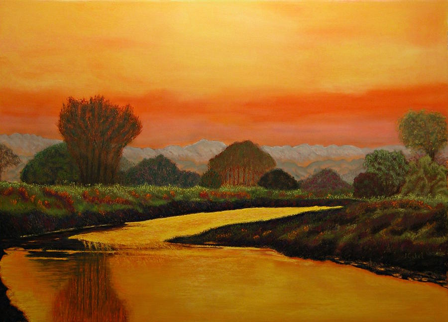 Landscape Pastel - Alans Peaceful Place by Laura Gabel