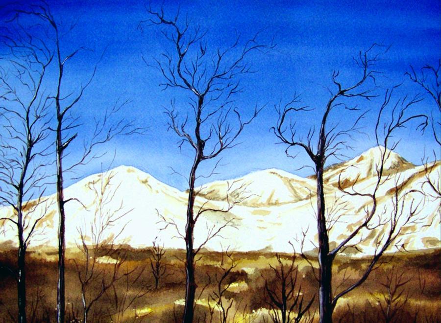 Landscape Painting - Alaska Blue Sky Day  by Brenda Owen