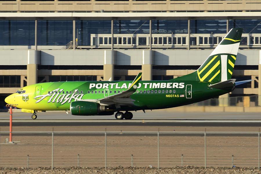 Airplane Photograph - Alaska Boeing 737-790 N607as Phoenix Sky Harbor December 27 2015 by Brian Lockett