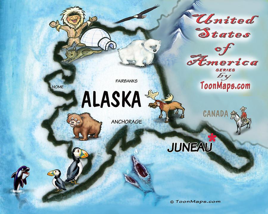 Alaska Fun Map Digital Art