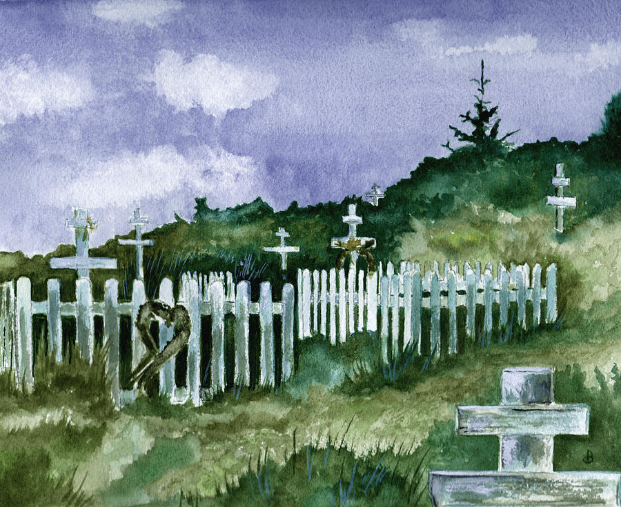 Landscape Painting - Alaska Graveyard  by Brenda Owen